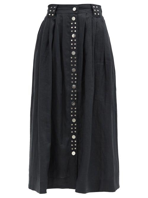 Ganni Metallic Buckle Linen Midi Skirt In Black