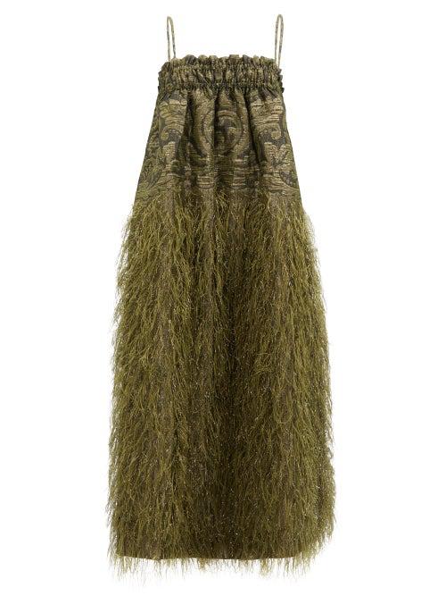 Ganni Feather Detail Metallic Jacquard Midi Dress In Green