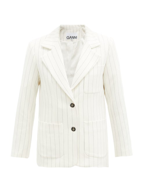 Ganni Single-breasted Striped Crepe Jacket In White