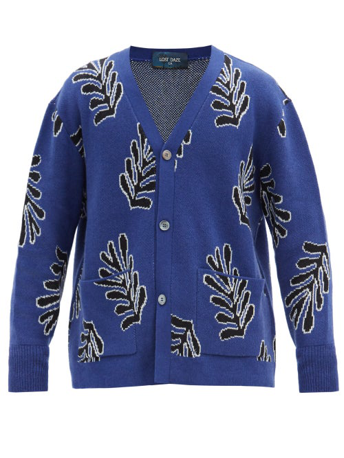 Lost Daze Palm-jacquard Cotton-blend Cardigan In Blue