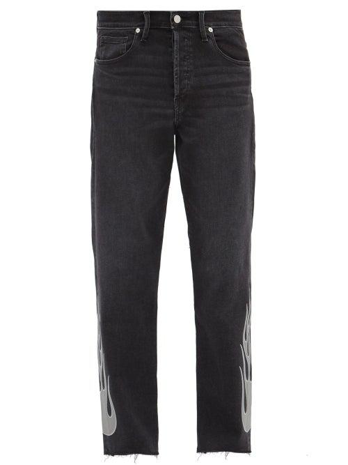 Lost Daze Flame-appliqué Straight-leg Jeans In Black