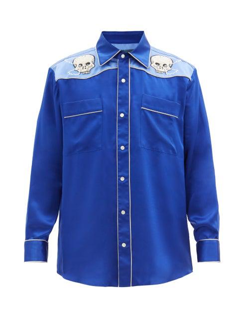 Lost Daze Skeleton-embroidered Silk Shirt In Blue