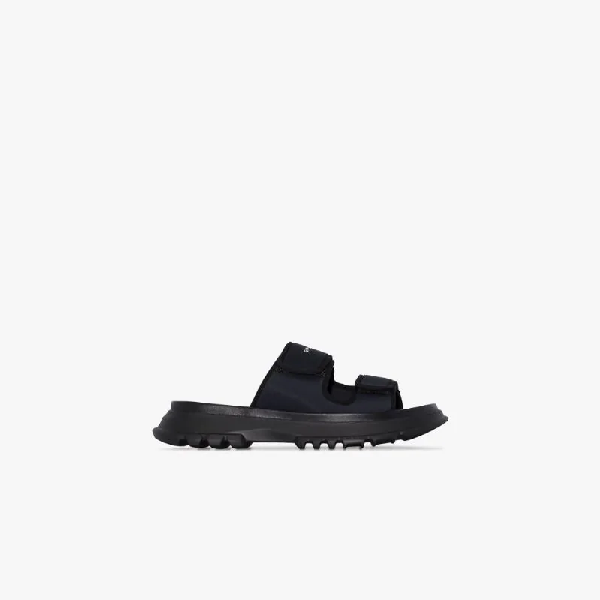 Givenchy Logo Print Neoprene Strap Sandals In Black