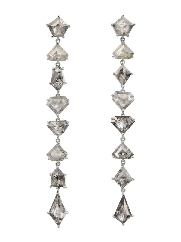 Nina Runsdorf Clair De Lune Organic Mix Shape Diamond Earrings In Gold