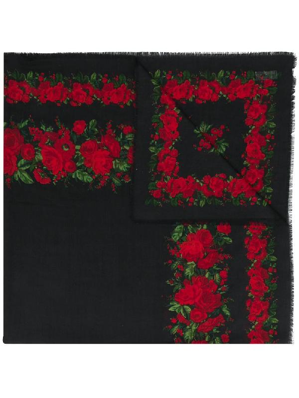Saint Laurent Rose Print Scarf In Black