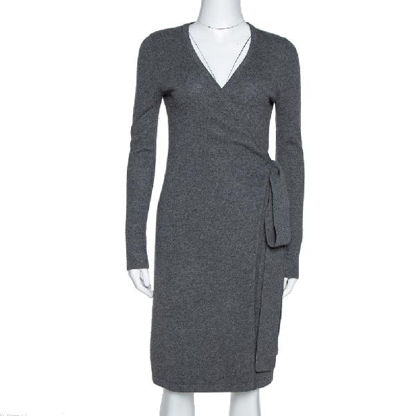 Diane Von Furstenberg Grey Cashmere New Linda Wrap Dress P