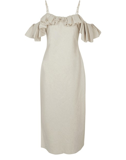 Jacquemus Pampelonne Ruffled Off-the-shoulder Cotton-blend Midi Dress In Neutrals