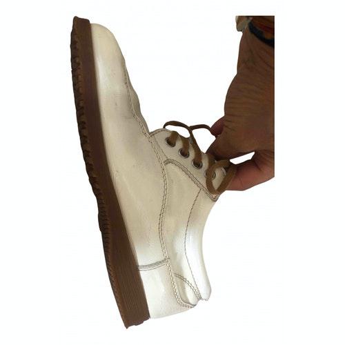 Hogan Ecru Patent Leather Lace Ups