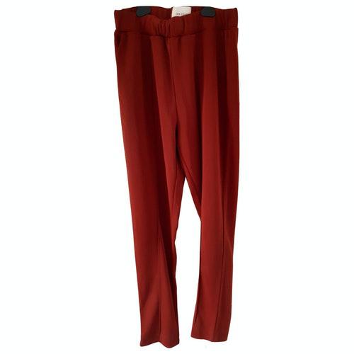Les Coyotes De Paris Red Linen Trousers