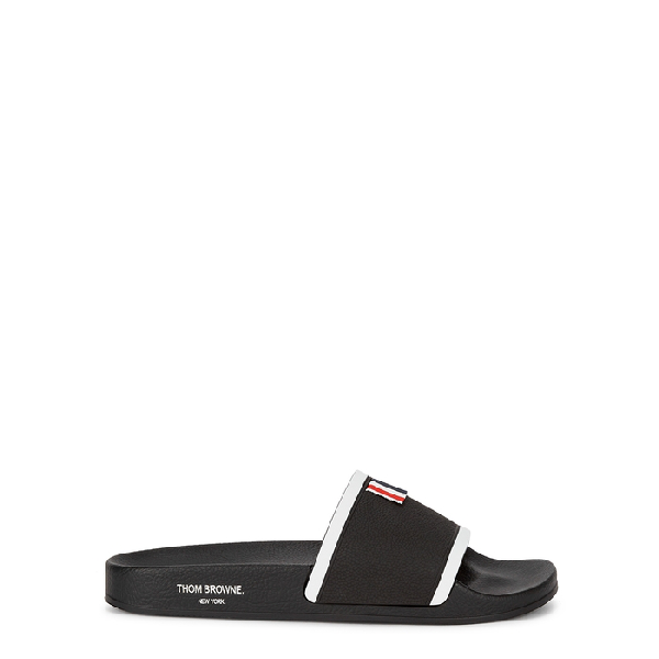 Thom Browne Black Striped Rubber Sliders