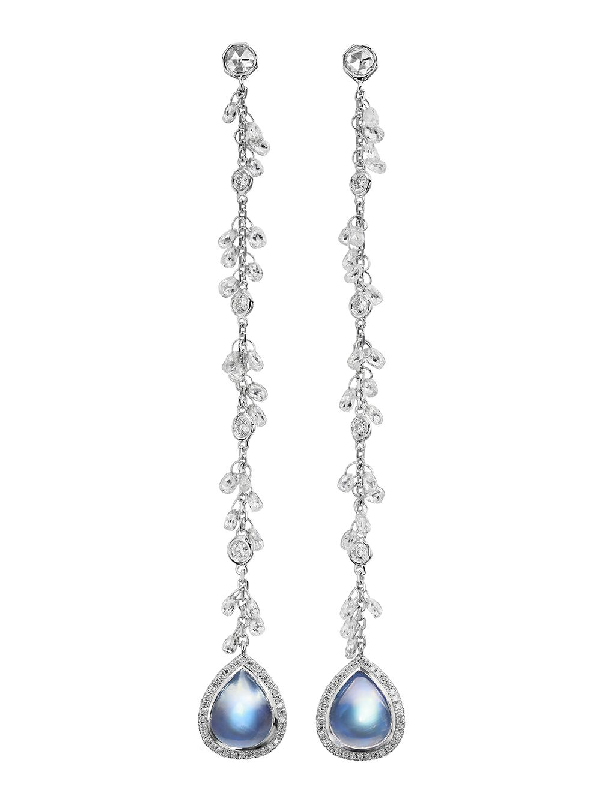Nina Runsdorf Clair De Lune Moonstone And Diamond Chain Earrings In Blue