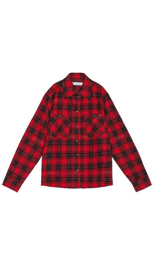 Off-white Stencil Check Pattern Shirt In Red And Black