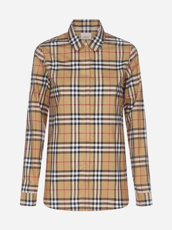 Burberry Satin Stripe Vintage Check Shirt In Antique Yel Ip Chk