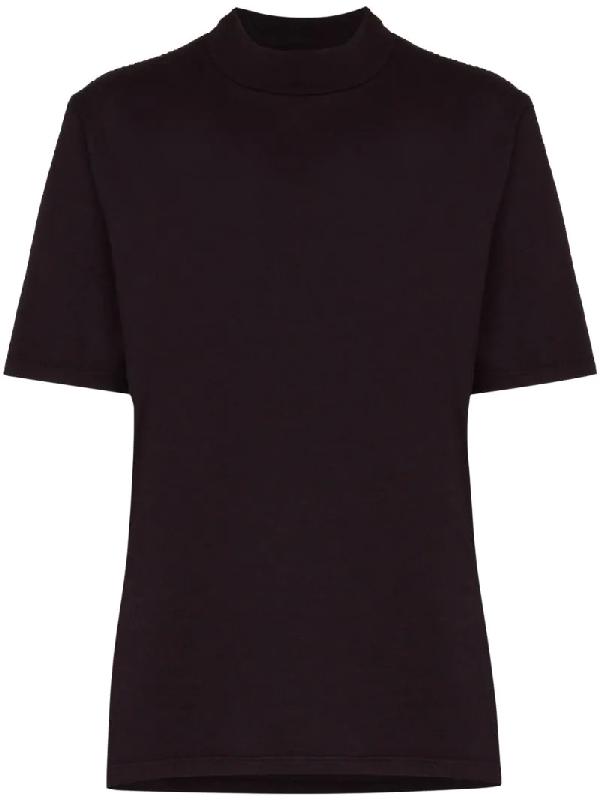 Les Tien Mock-neck Short-sleeve T-shirt In Purple