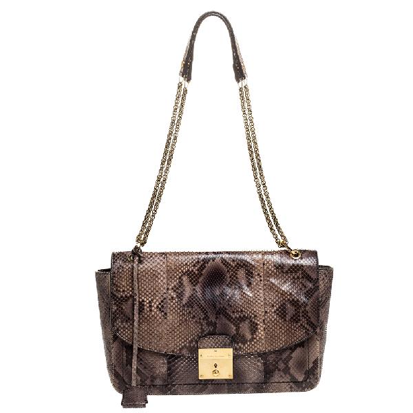 Marc Jacobs Grey/beige Python Polly Shoulder Bag