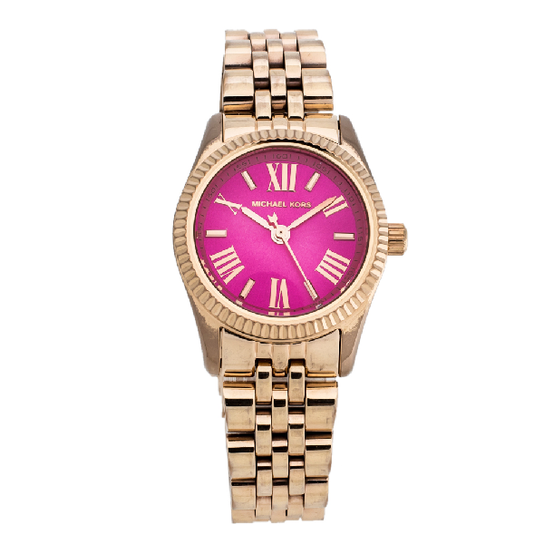 Michael Kors Pink Rose Gold Tone Stainless Steel Lexington Petite Mk3285 Women's Wristwatch 26 Mm