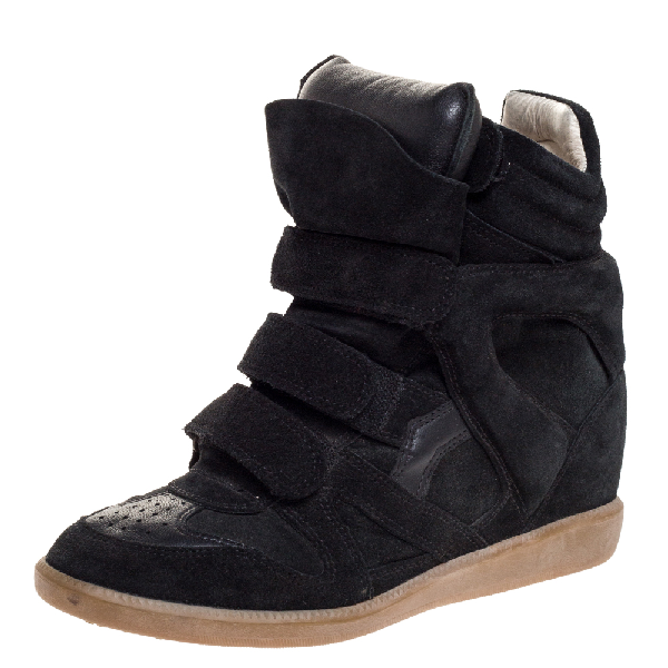 Isabel Marant Black Suede And Leather Bekett Wedge High Top Sneakers Size 39