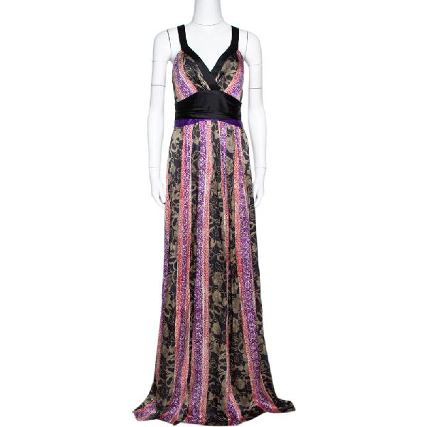 Etro Black Paneled Floral Print Silk Halter Neck Maxi Dress M