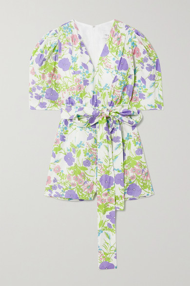 Les Rêveries Belted Smocked Floral-print Cotton-poplin Playsuit In Purple