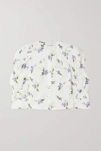 Les Rêveries Elizabeth Ruched Ruffled Floral-print Cotton-poplin Shirt In White