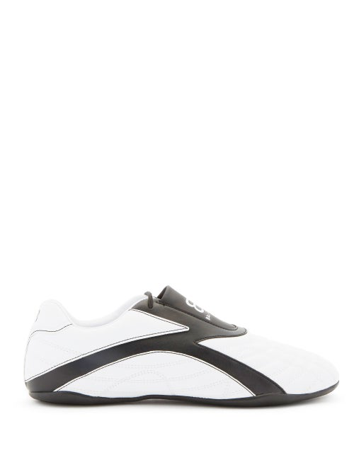 Balenciaga Zen Two-tone Quilted Faux Leather Sneakers In White