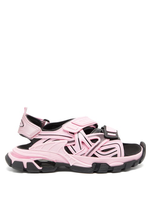 Balenciaga Chunky Leather Sport Sandals In Pink