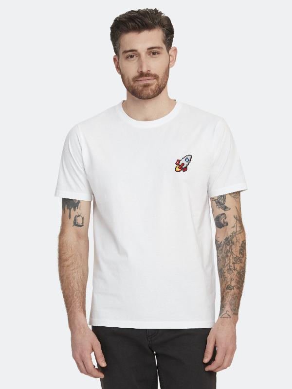 Bricktown Spaceship Crewneck T-shirt - Xl - Also In: L, S, M In White
