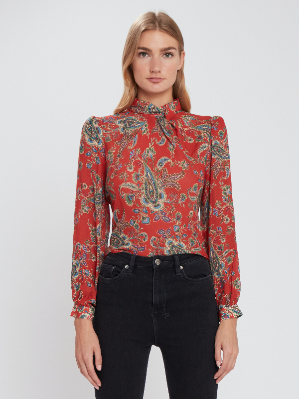 Icons Objects Of Devotion The Tess Mcgill Mock Neck Blouse - Xs - Also In: M, L In Red