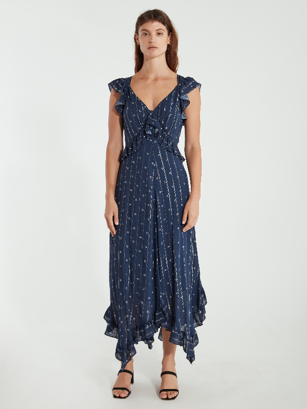 Icons Objects Of Devotion The Day Ruffle Midi Dress - L - Also In: M, Xs, S In Blue