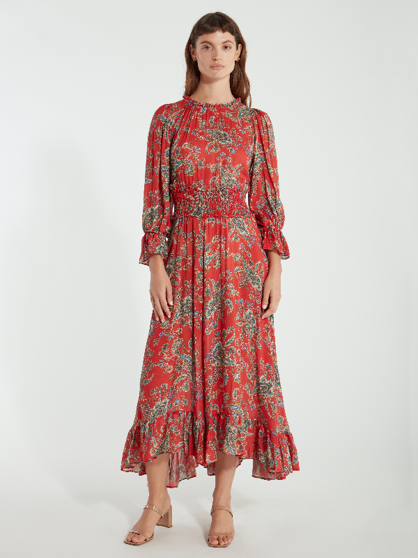 Icons Objects Of Devotion The Long Peasant Midi Dress - L - Also In: Xs, M In Red