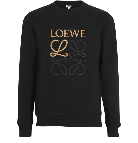 Loewe Anagram-embroidered Cotton Sweatshirt In Black