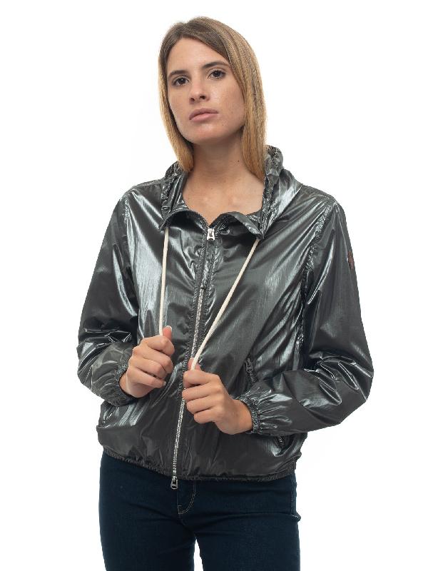 Museum Patty Windbreaker Jacket Grey Nylon Woman In Green