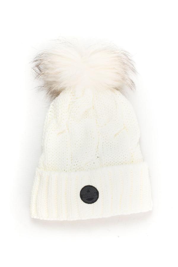 Museum Rib Hat With Pom Poms White Acrylic Woman
