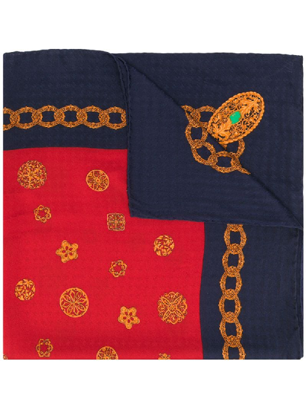 Chanel 1980s Chain Print Scarf In Red
