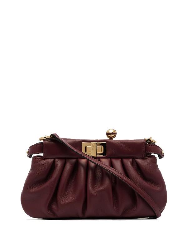 Fendi Peekaboo Click Clutch Bag In Red