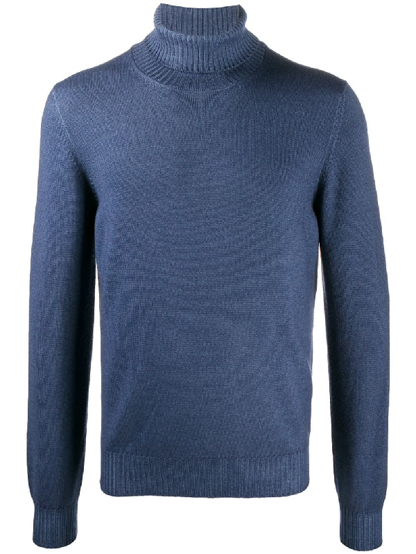 Fileria Ribbed Roll-neck Wool Jumper In Blue
