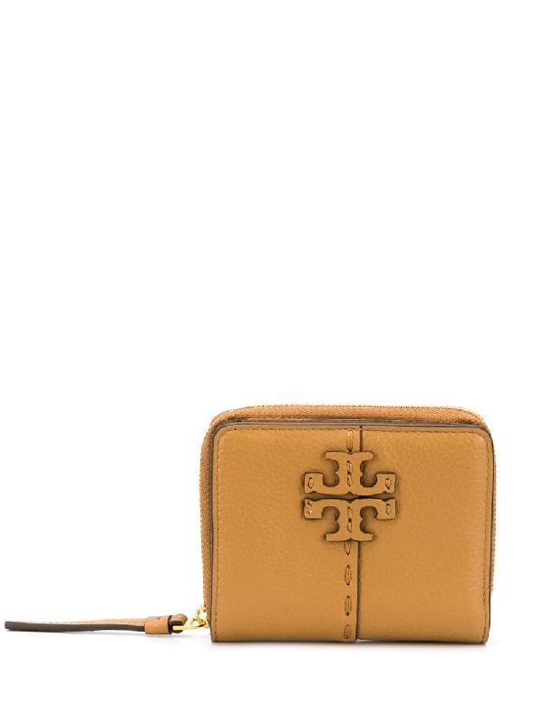 Tory Burch Embossed Logo Wallet In Brown
