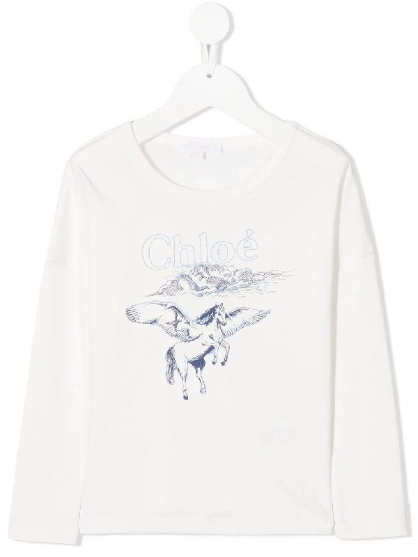 Chloé Kids' Pegasus Print Top With Embroidery In White