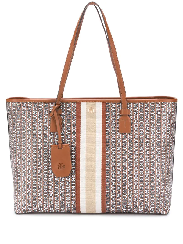 Tory Burch Gemini Link Canvas Tote Bag In Brown