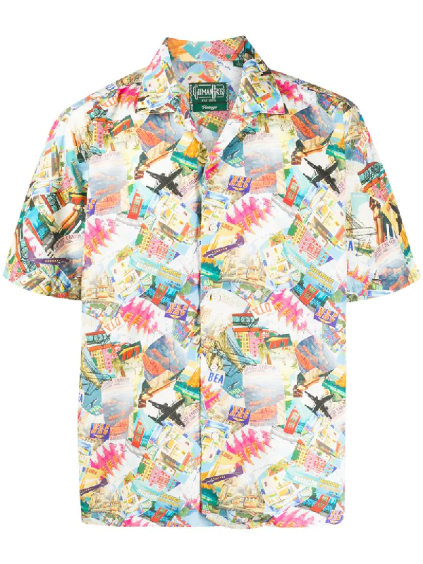 Gitman Vintage World Traveler Camp Collar Shirt In Blue