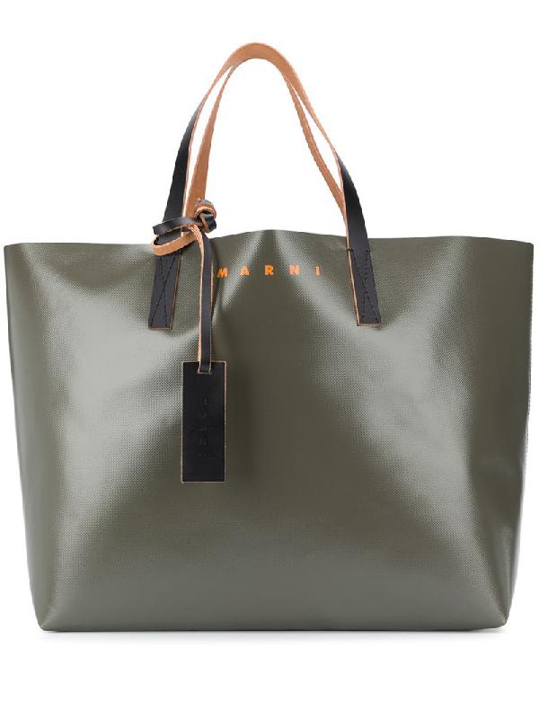 Marni Colour-block Tote Bag In Brown