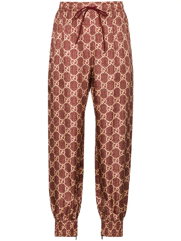 Gucci Gg Supreme Canvas Track Pants In Red