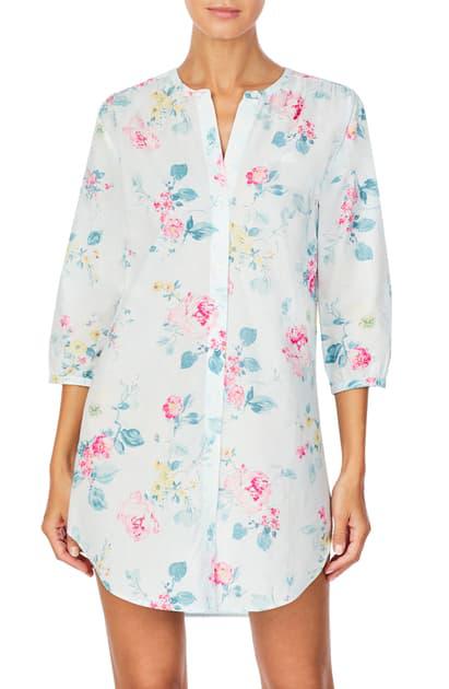 Lauren Ralph Lauren Woven Nightshirt In Mint Floral