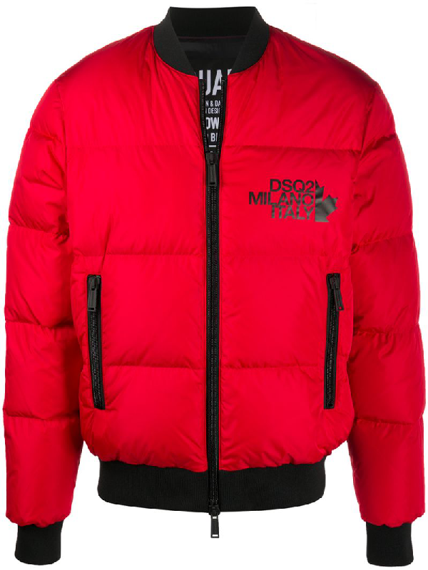 Dsquared2 Long-sleeve Puffer Jacket In Red