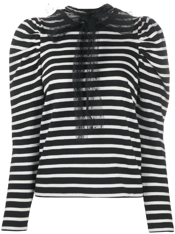 Red Valentino Point D'esprit Detailing Striped Jumper In Black