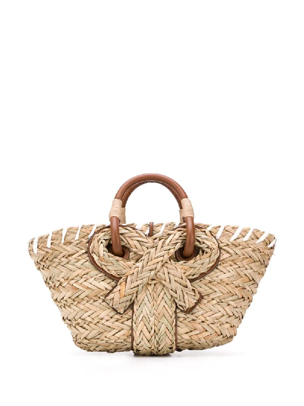 Anya Hindmarch Woven Bow Detail Tote Bag In Neutrals