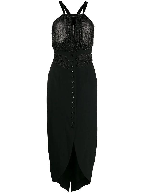 Romeo Gigli 1990s Beaded High-low Dress In Black