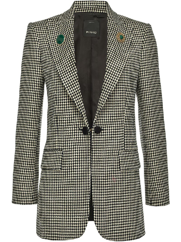 Pinko Houndstooth Double-breasted Blazer In Black