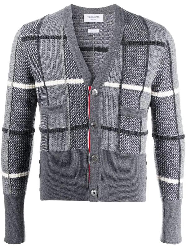 Thom Browne Jacquard-check V-neck Cardigan In Grey