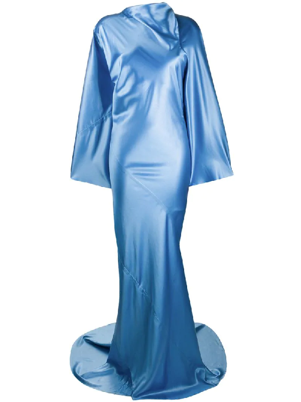 Rick Owens Flared Sleeves Long Draped Gown In Blue